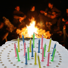 Birthday Candle Board Around A Campfire
