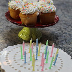 Birthday Candle Board, Birthday Candle Holder with Cupcakes