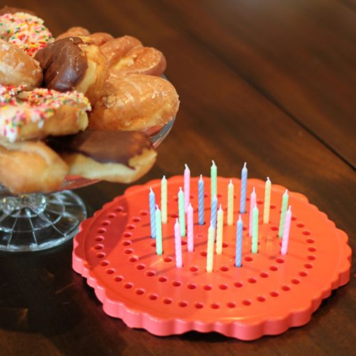 Birthday Candle Board, Birthday Candle Holder, Red Orange with Donuts